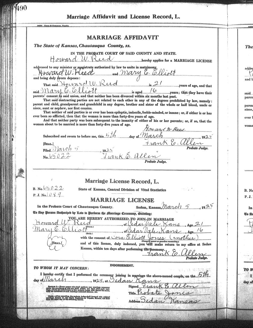 Howard Reed marriage license LDS film 2404387 page 490
