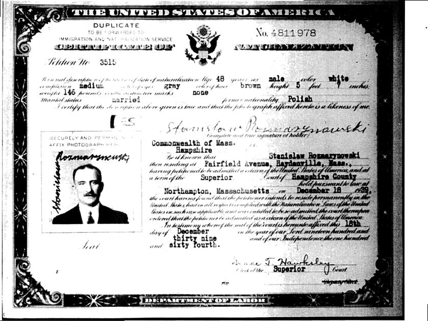 Stanislaw Rozmarynowski US Naturalization Papers page 1